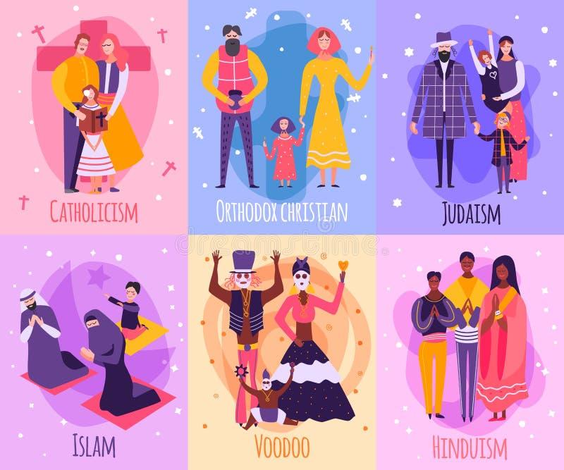 Diverso sistema de tarjeta religioso de la familia de la gente libre illustration