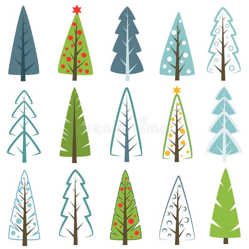Diverso sistema del árbol de navidad, ejemplo del vector Puede ser utilizado para la tarjeta de felicitación, invitación, bandera libre illustration