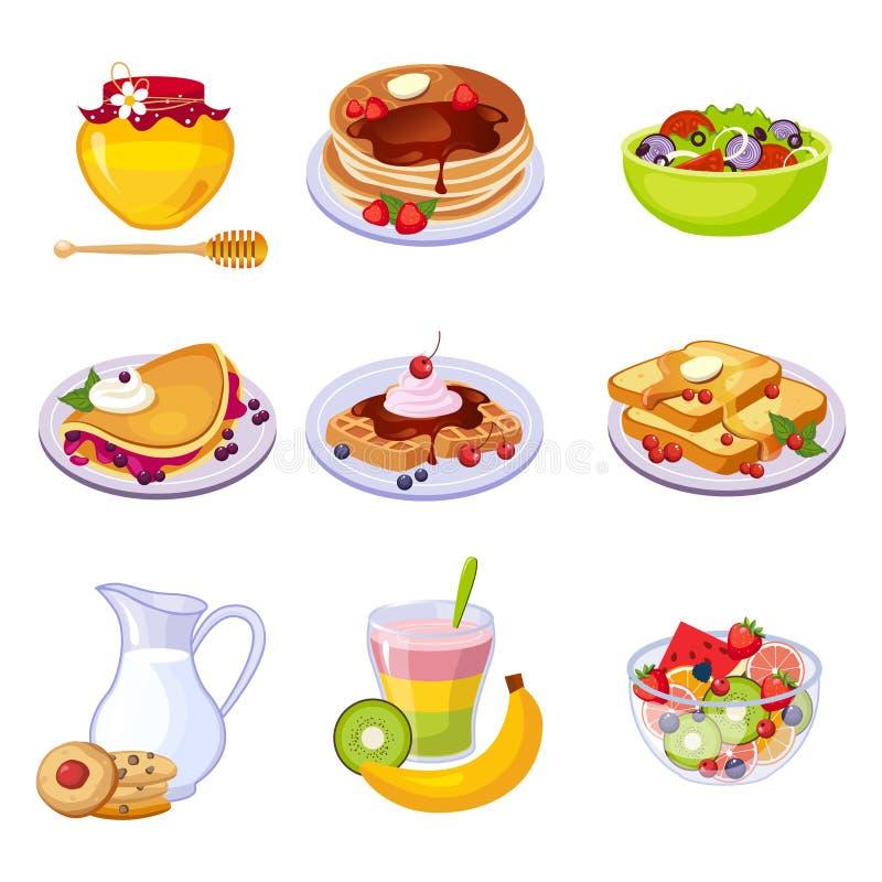Diverso sistema del surtido de los platos del desayuno de iconos ilustración del vector