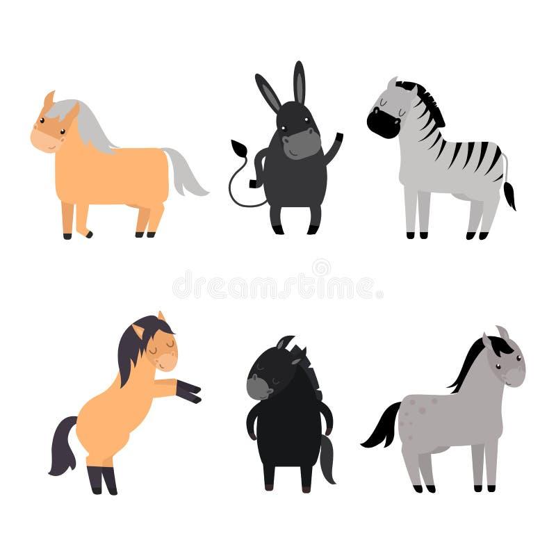 Diverso sistema del vector de la raza de los caballos libre illustration