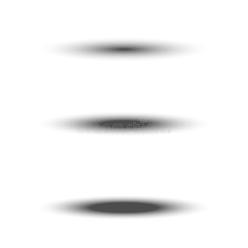 Diverso sistema oval negro transparente de la sombra con el borde suave aislado en el fondo blanco Elemento del divisor del vecto ilustración del vector
