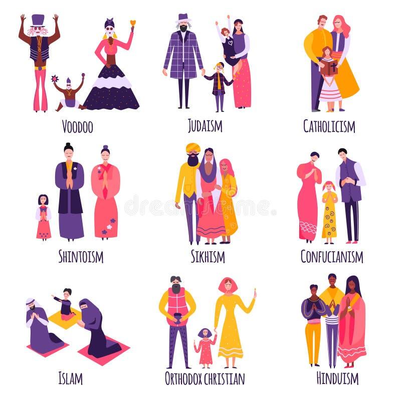 Diverso sistema religioso del plano de las familias stock de ilustración