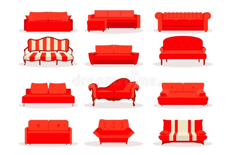 Diverso sofá de lujo de cuero rojo de la oficina del vector, sistema del icono del sofá en estilo plano aislado en Bsckground bla libre illustration