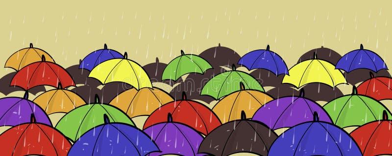 Diverso soporte único de la individualidad de muchos paraguas coloridos fuera del espacio de la copia del concepto de la muchedum ilustración del vector