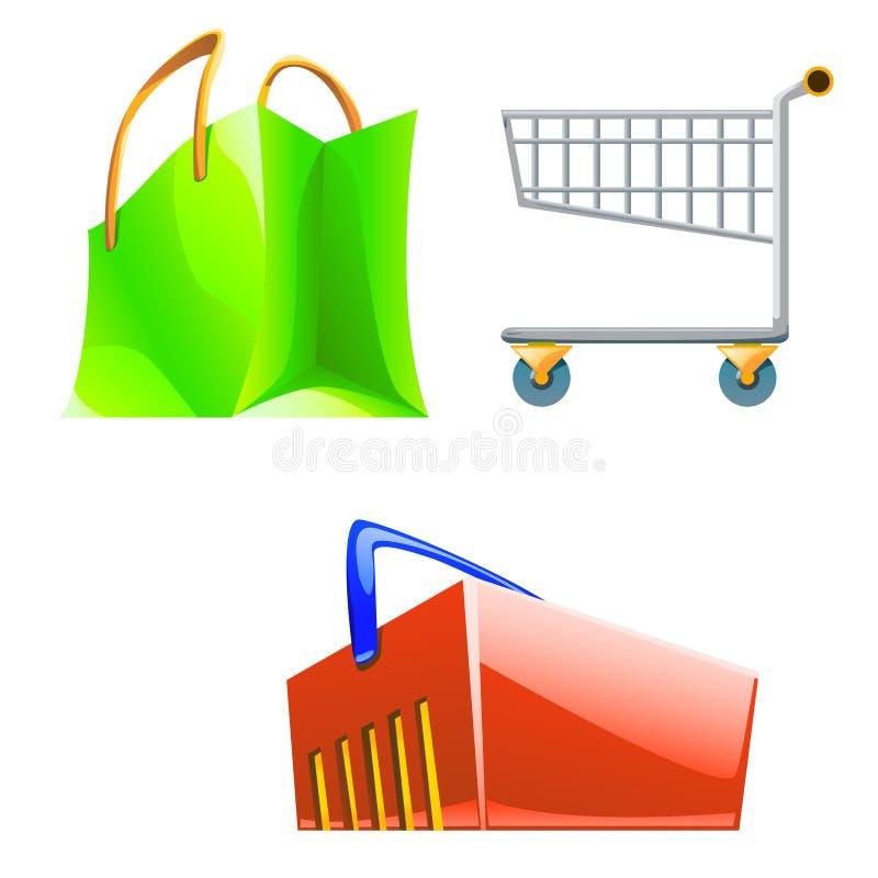 Diverso tipo de bolsos de la tienda coloreados libre illustration