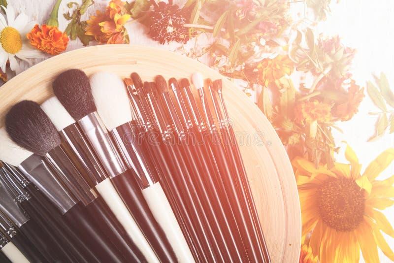 Diverso tipo de cepillos Make up en una placa al lado de la flor salvaje imagen de archivo libre de regalías