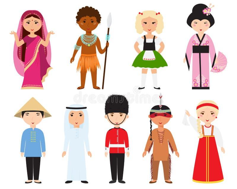Diverso vector de la gente de las naciones ilustración del vector