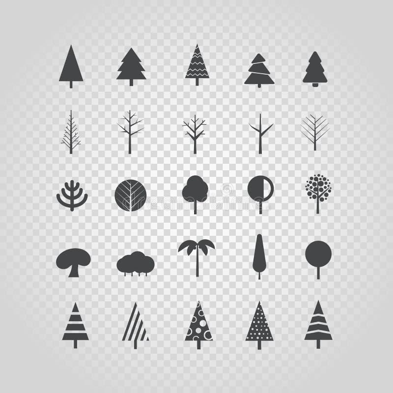 Diverso vector de la silueta del árbol fijado en transparente libre illustration