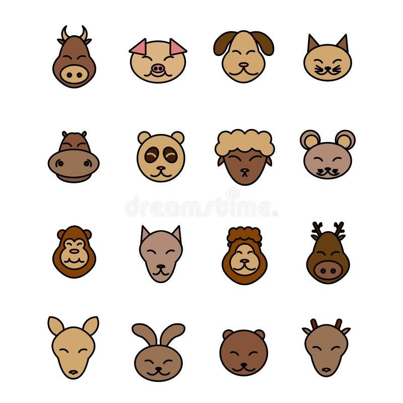 Diverso vector de los animales Animal doméstico marrón fijado iconos libre illustration