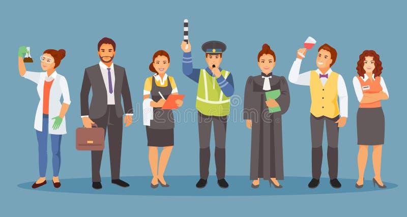 Diverso vector de los empleos stock de ilustración