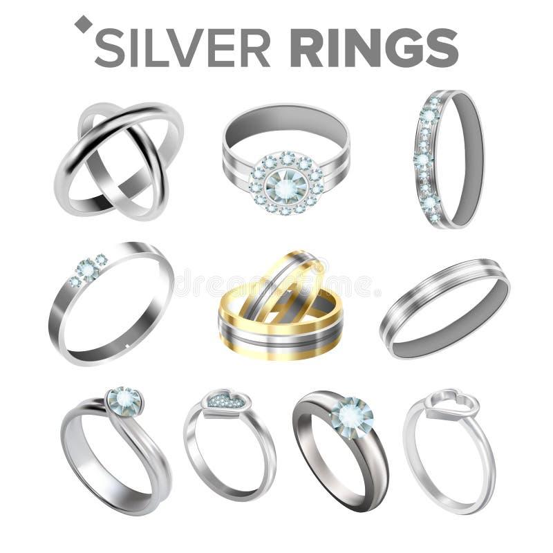 Diverso vector metálico de plata brillante del sistema de los anillos ilustración del vector