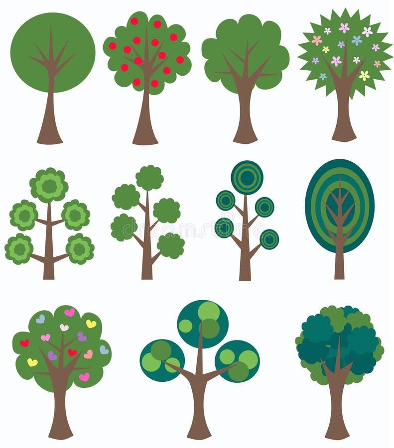 Diversos árboles stock de ilustración
