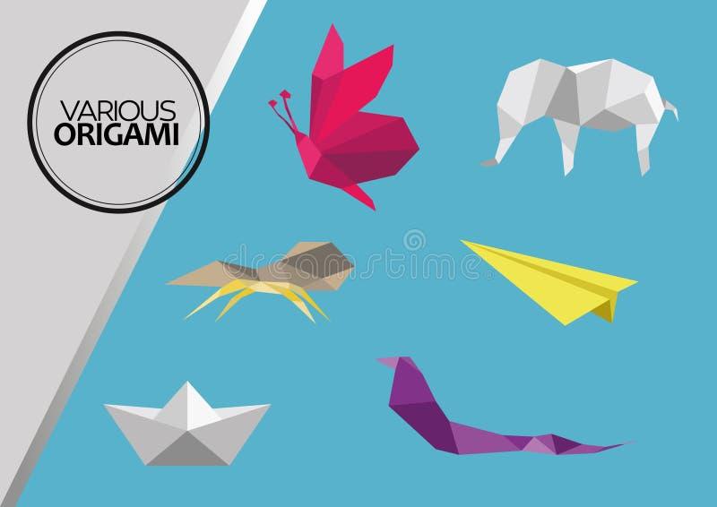 Diversos animales de la papiroflexia stock de ilustración