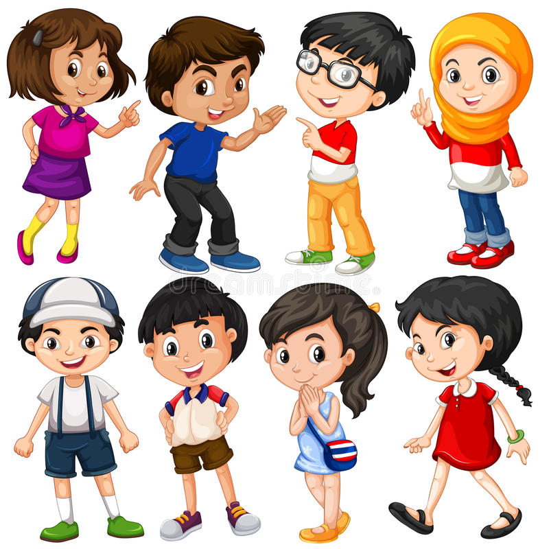 Diversos caracteres de muchachos y de muchachas ilustración del vector