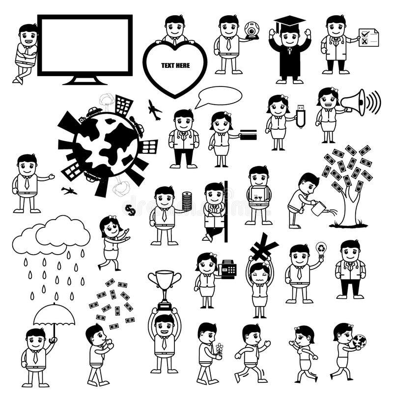 Diversos conceptos de las historietas relacionados con la tecnología y el negocio stock de ilustración