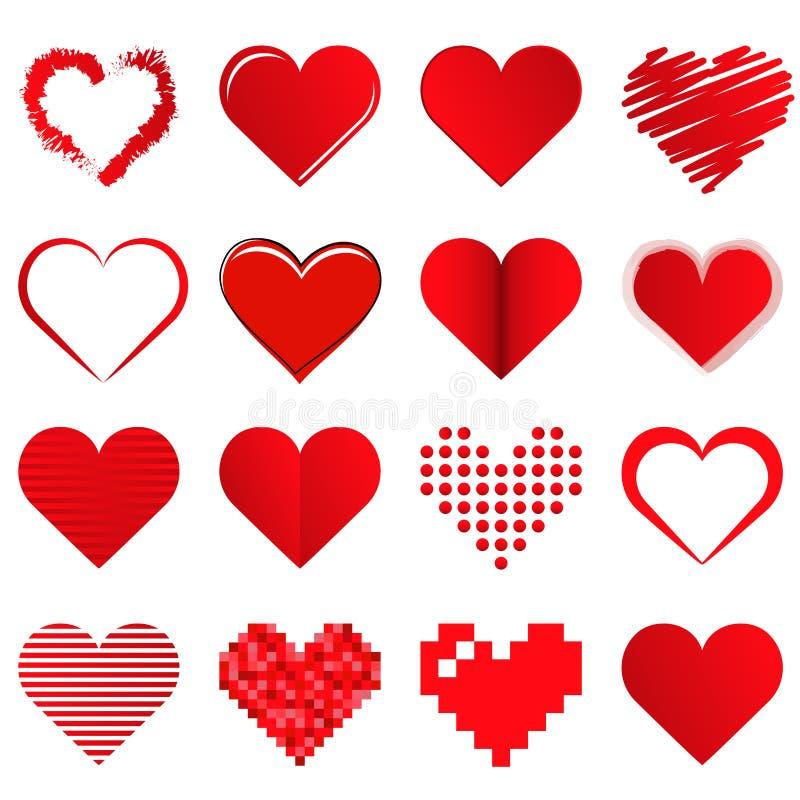 diversos corazones de amor de la tarjeta del día de San Valentín de la colección stock de ilustración