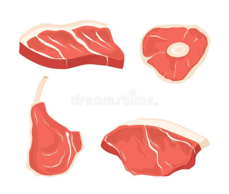 Diversos cortes de carnes determinados Las imágenes para el concepto del ` s del granjero comercializan y hacen compras stock de ilustración