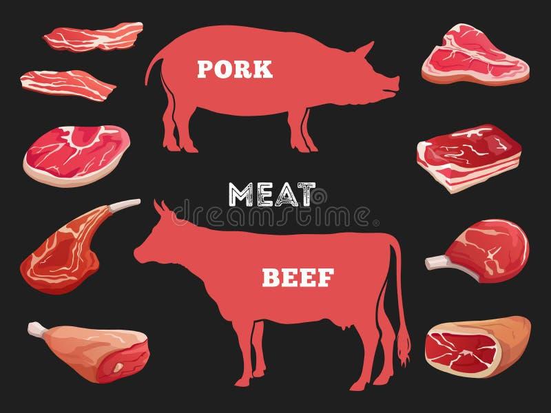 Diversos cortes del ejemplo del vector de la carne de la vaca y de cerdo stock de ilustración