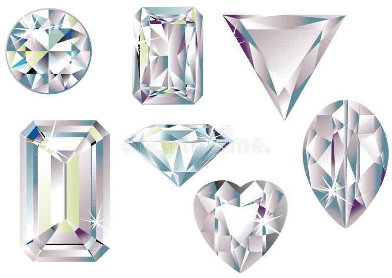 Diversos diamantes del corte ilustración del vector