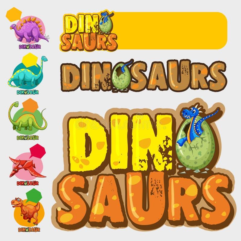 Diversos diseños con muchos dinosaurios libre illustration