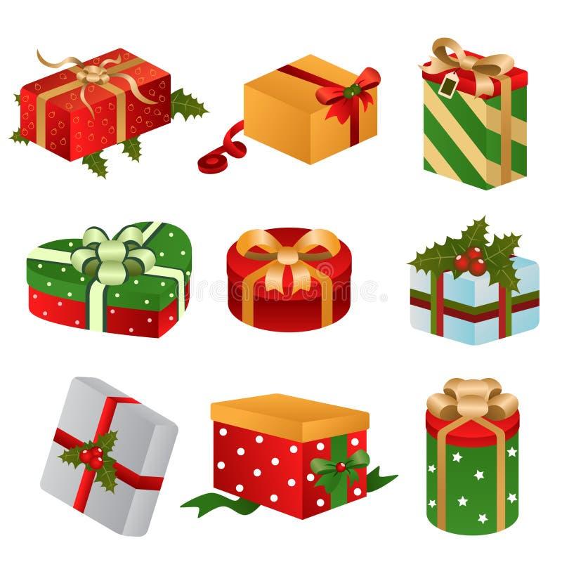 Diversos diseños de cajas del regalo de Navidad ilustración del vector