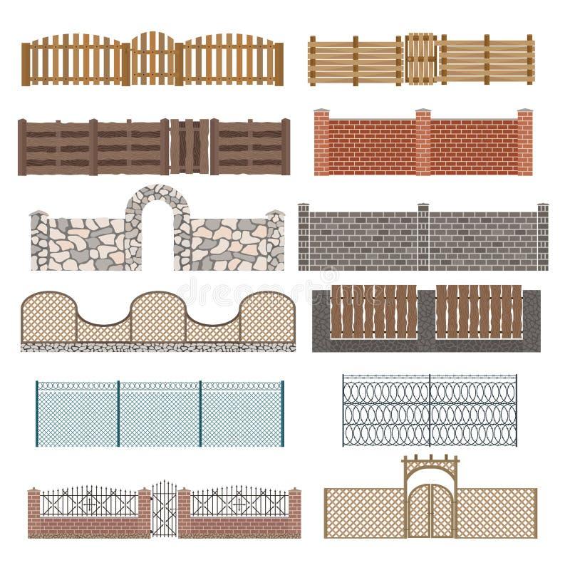 Diversos diseños de cercas y de puertas encendido ilustración del vector