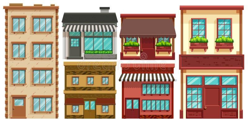 Diversos diseños de edificios ilustración del vector