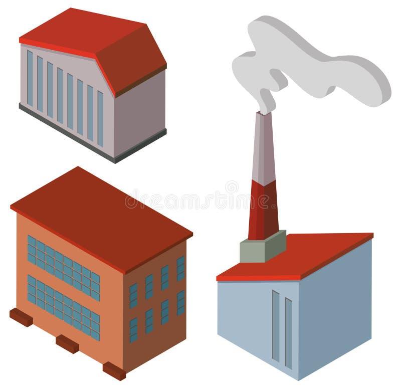 Diversos diseños de edificios de la fábrica libre illustration