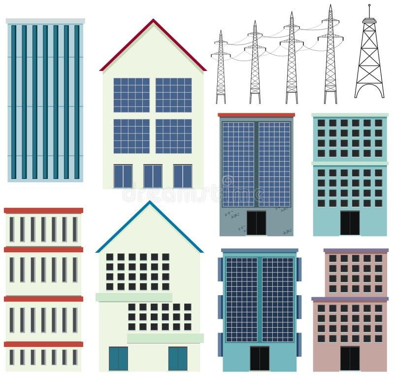 Diversos diseños de edificios de oficinas ilustración del vector