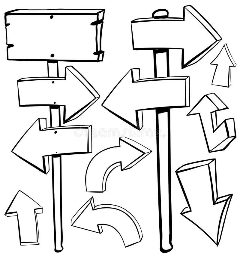Diversos diseños de flechas y de tableros libre illustration