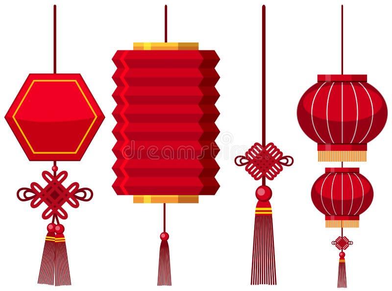 Diversos diseños de linternas chinas ilustración del vector