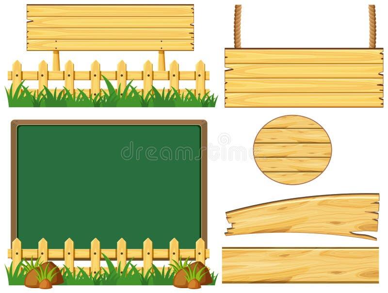 Diversos diseños de tablero de madera stock de ilustración