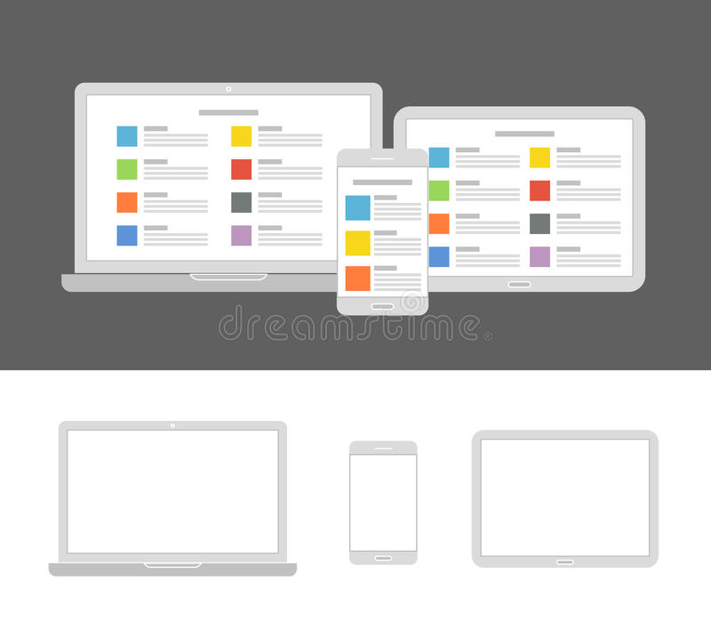 Diversos dispositivos modernos con el mismo contenido stock de ilustración
