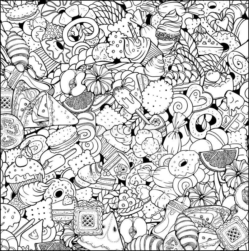 Diversos dulces y frutas stock de ilustración