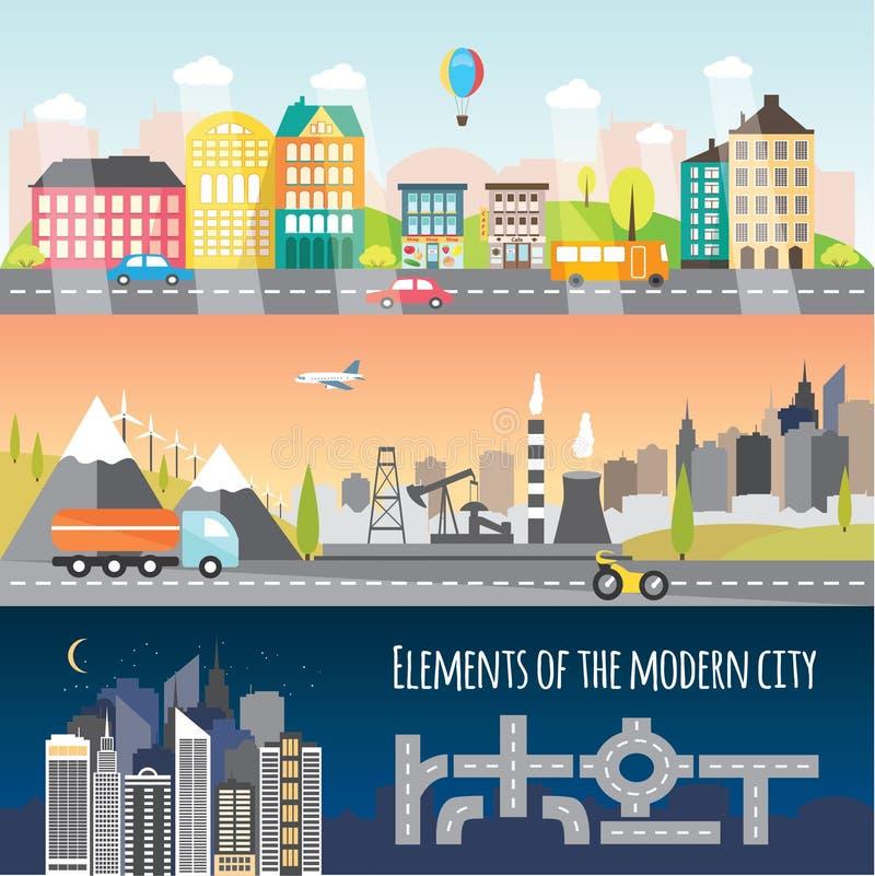 Diversos elementos de la ciudad ilustración del vector