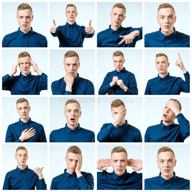 Diversos emociones y gestos imágenes de archivo libres de regalías