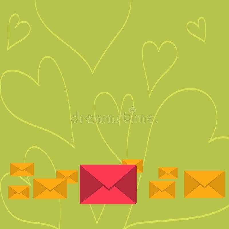 Diversos envelopes fechados da cor com o grande no meio Embalagem da letra no alinhamento pastel e diferente dos tamanhos creativ ilustração stock