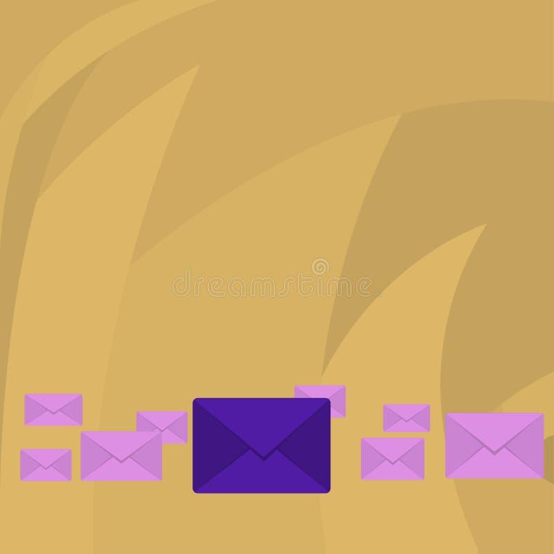Diversos envelopes fechados da cor com o grande no meio Embalagem da letra no alinhamento pastel e diferente dos tamanhos creativ ilustração royalty free