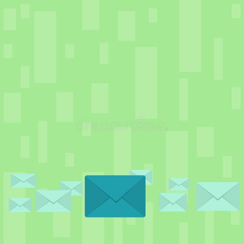 Diversos envelopes fechados da cor com o grande no meio Embalagem da letra no alinhamento pastel e diferente dos tamanhos creativ ilustração do vetor
