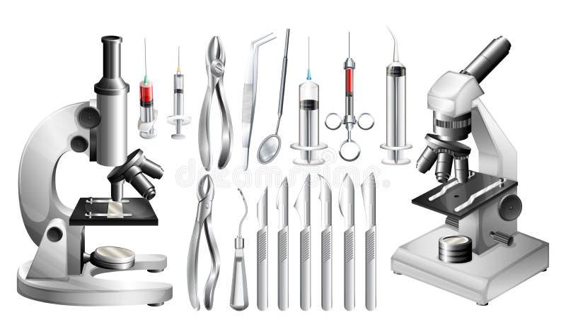 Diversos equipos médicos y herramientas stock de ilustración