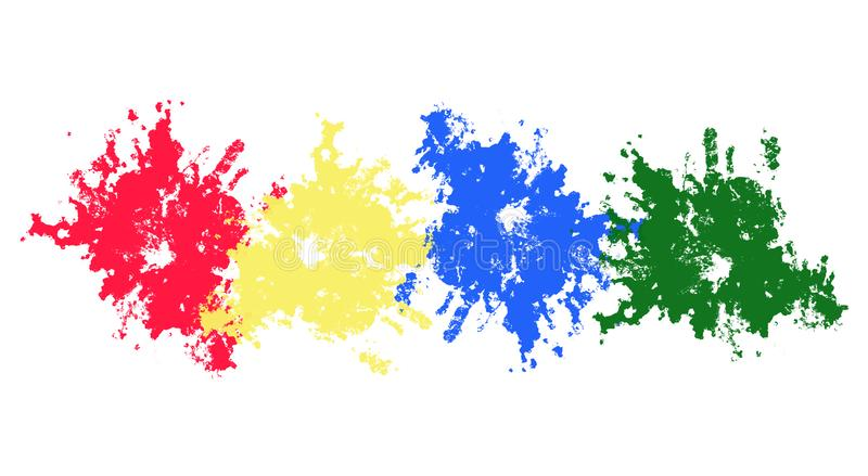 Diversos esprayes de la pintura blots En un blanco stock de ilustración