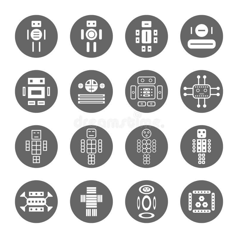 Diversos estilo dos ícones do robô ajustados foto de stock