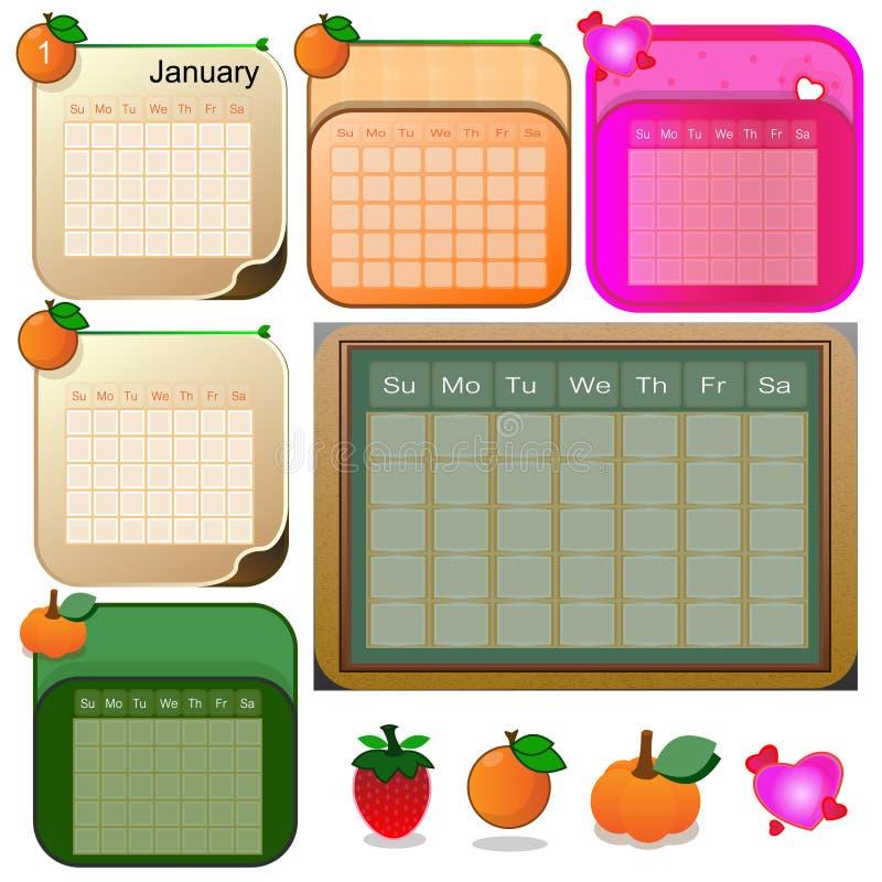 Diversos estilos del calendario - ejemplo ilustración del vector