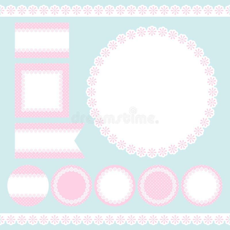 Diversos flores y Dots Pink And White de la etiqueta ilustración del vector