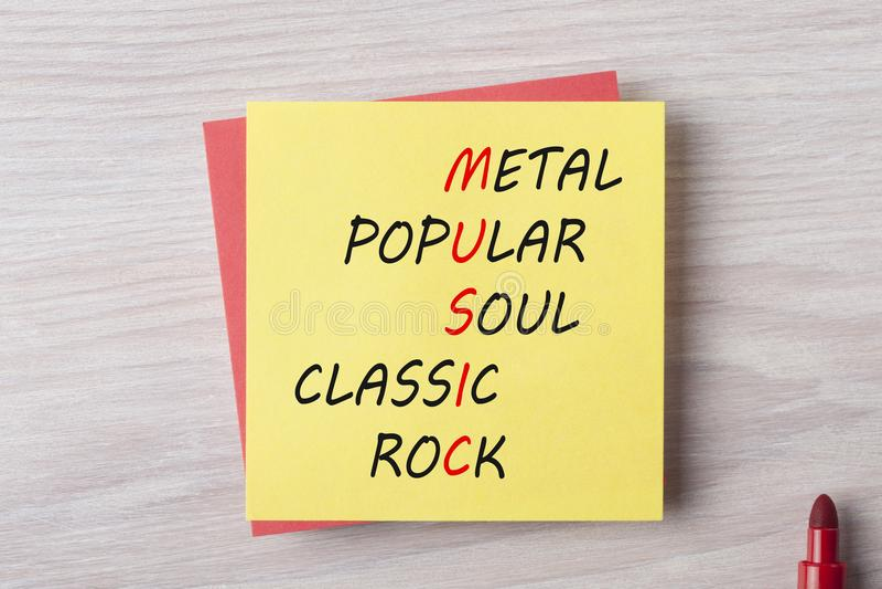 Diversos géneros de la música imagenes de archivo
