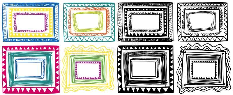 Diversos garabatos de los diseños del marco stock de ilustración