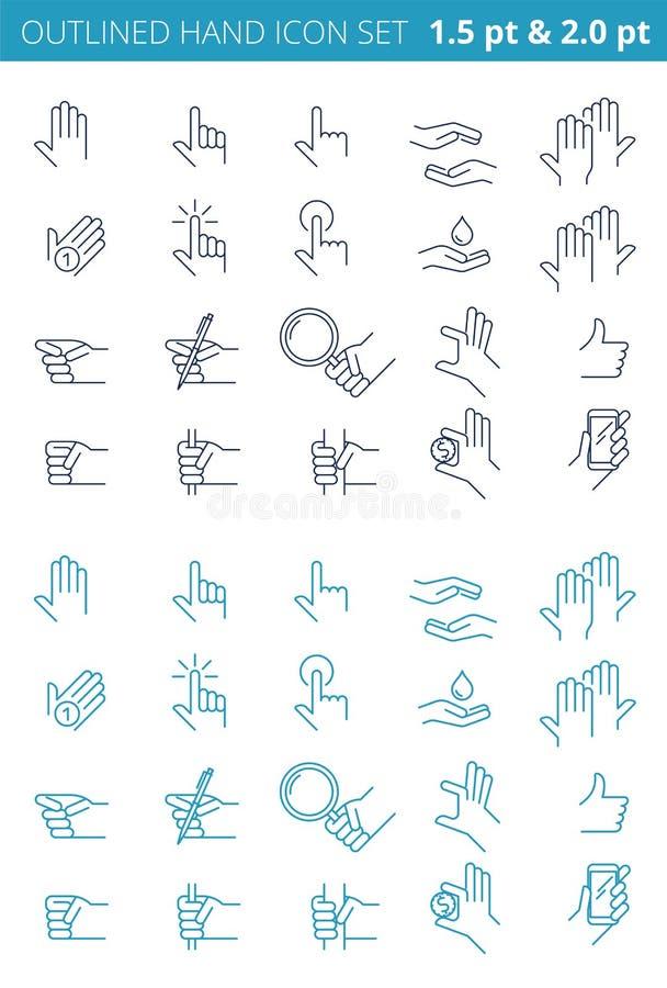 Diversos gestos de la línea manos del ser humano Sistema resumido del icono ilustración del vector