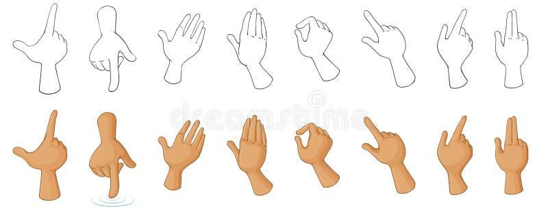 Diversos gestos de mano ilustración del vector