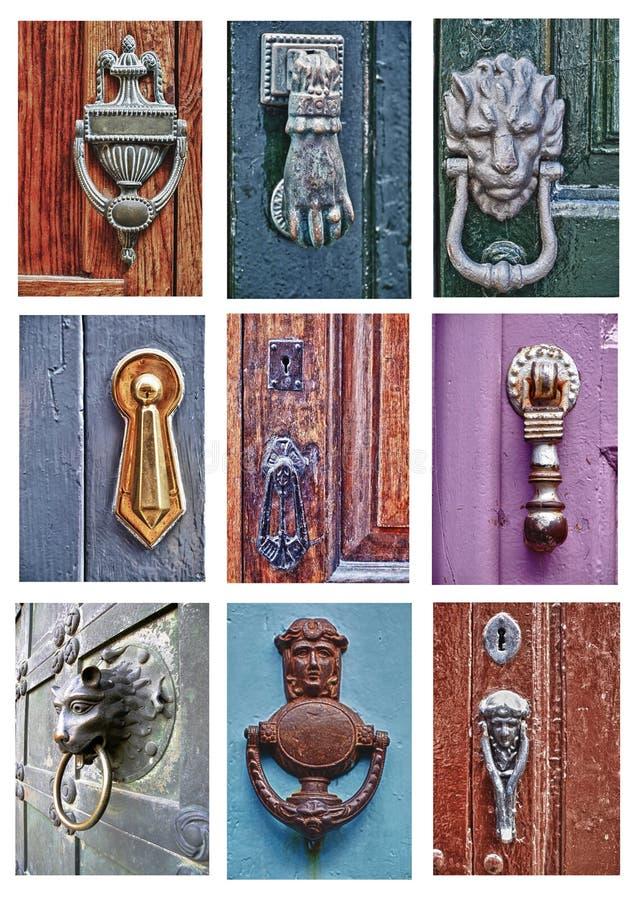 Diversos golpeadores de puerta imágenes de archivo libres de regalías