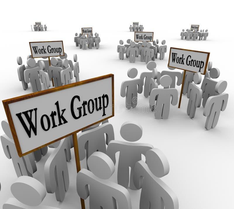 Diversos grupos de trabalho de tarefas divididas trabalhadores ilustração royalty free